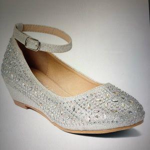 Silver sparkle ankle strap shoe
